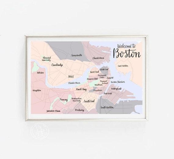 Boston Neighborhood Map Calligraphy NeighborhoodsAreas By Etsy - Boston neighborhood map