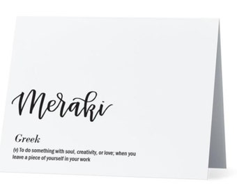 Meraki Greek Greeting card | Inside: Congrats--job well done! | Foreign language calligraphy card | White card and envelope