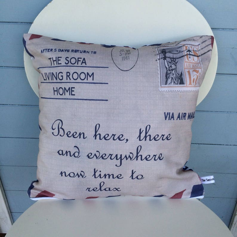 Airmail Sofa cushion Been Here There and Everywhere Mom image 0