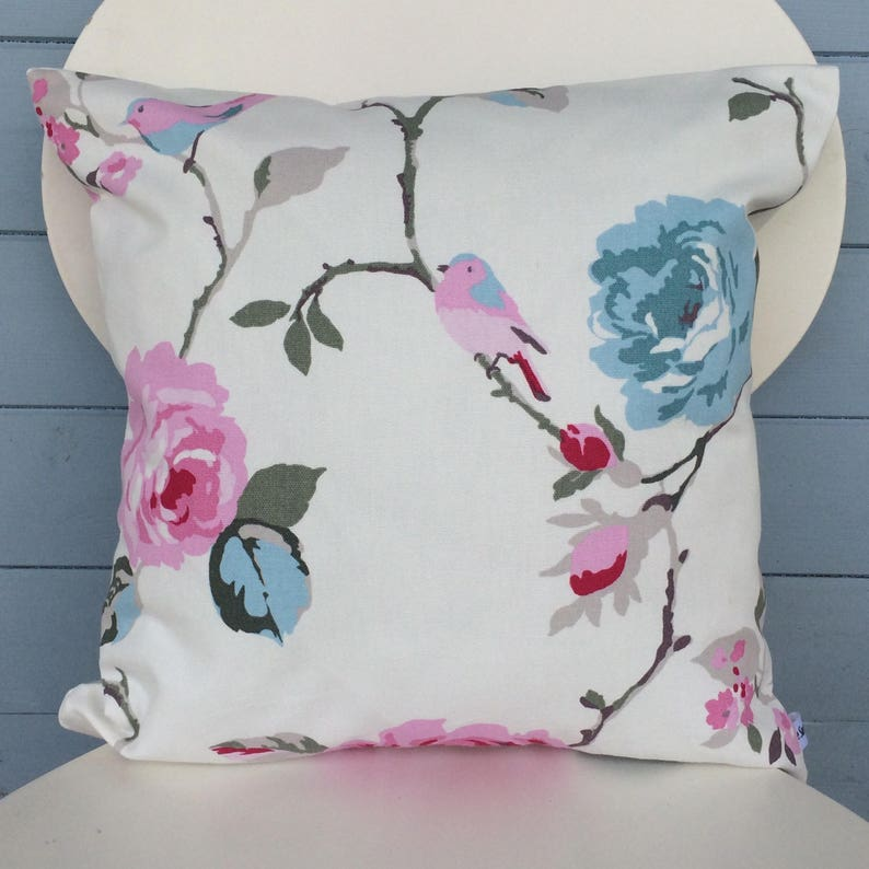 Pretty Clarke and Clarke Agatha Cushion Blue and Pink Floral image 0