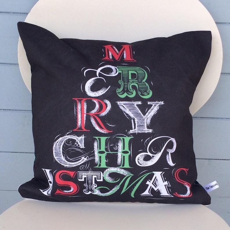 Merry Christmas Pillow Merry Christmas Tartan Cushion image 0