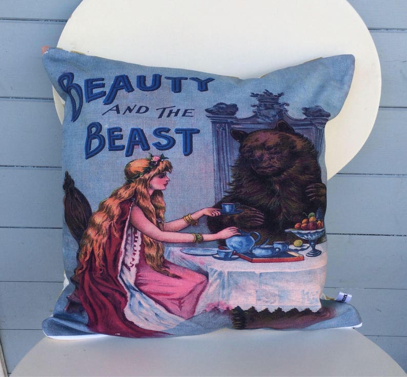 Beauty And The Beast Cushion Vintage Beauty and the Beast image 0