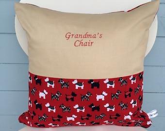 Grandma's Chair Cushion, Grandma Pillow, Westie dog, Granny gift, gift for mum, mom Christmas gift