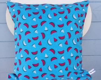 Watermelon Pillow, Blue Watermelon Cushion, Party Cushion Gift, Fruit Print Decor, Watermelon Print Cushion, Holiday Gift