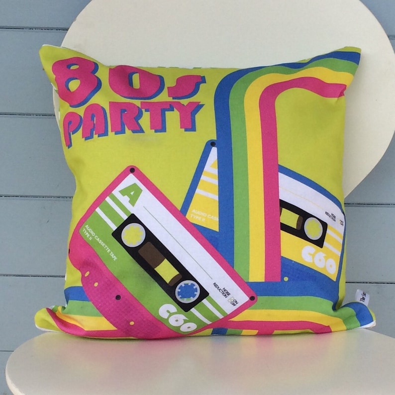 80's Party Pillow Retro Cushion 1980's gift Dayglo image 0