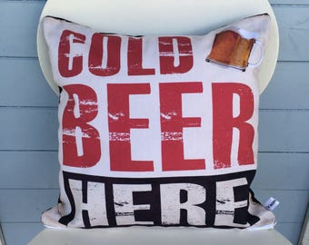 Cold Beer Here Cushion, Man Gift, Man Cave, Man Shed Pillow, Christmas Gift for Dad.