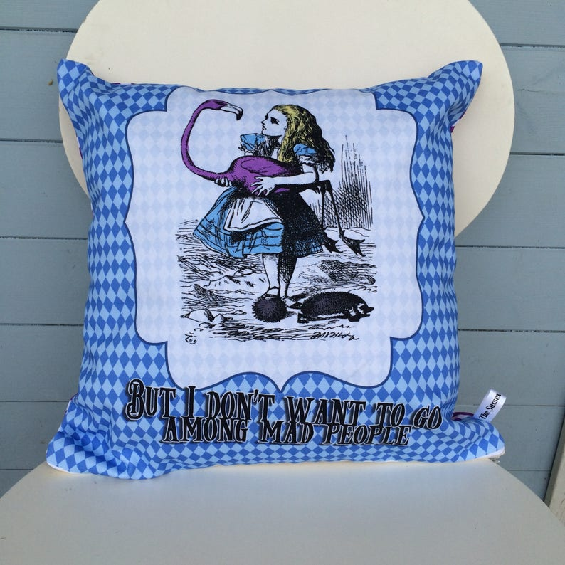 Alice In Wonderland Pillow Mad People Cushion Alice Cushion image 0
