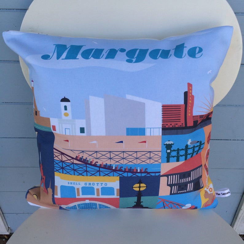 Margate cushion Margate Kent pillow Art Deco gift Seaside image 0