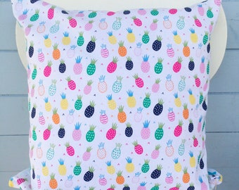 Pineapple Pillow, Tropical Fruit Cushion, Party Cushion Gift, Pina Colada Fruit Print Decor, Vacation Summer Decor, Holiday Gift