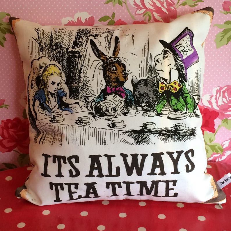 Alice Mad Hatter and March Hare Tea Party pillow  Its Always image 0