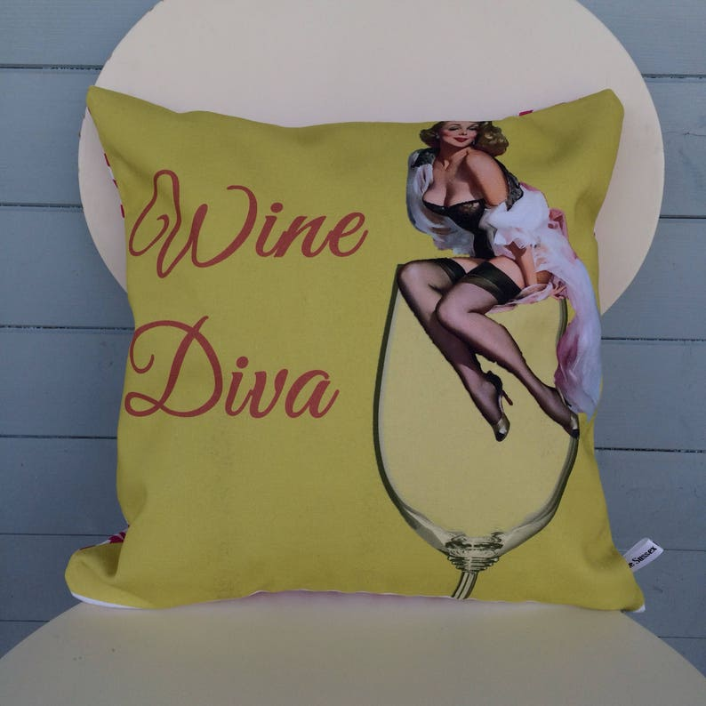 Wine Diva Pillow Wine Lover Cushion Wine Gift Pin-up image 0
