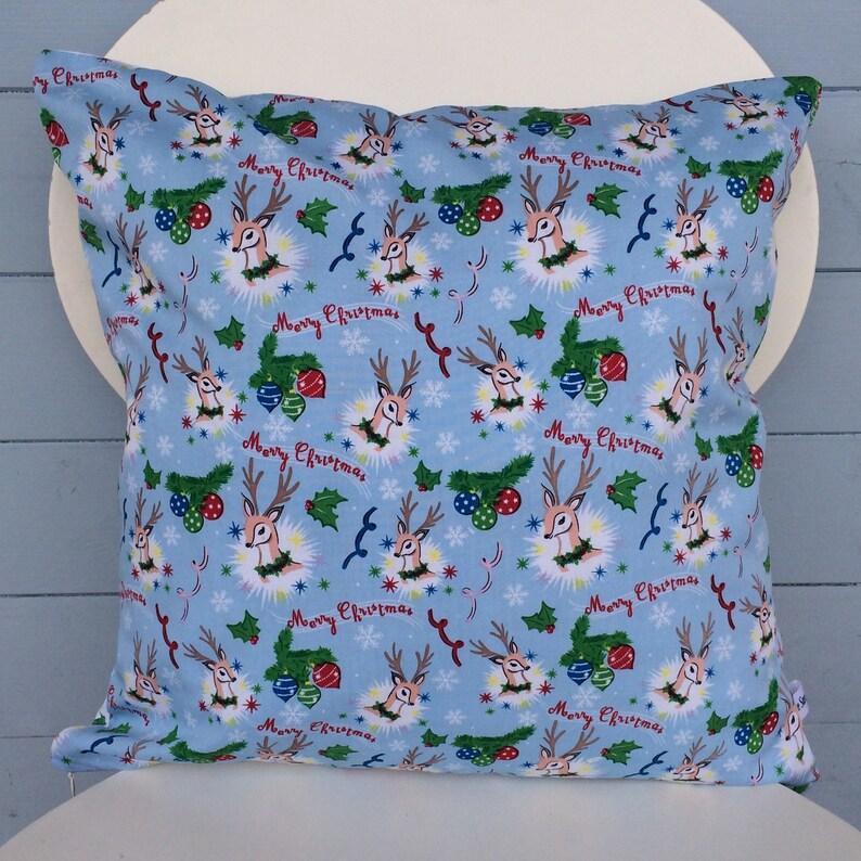 Vintage Style Christmas Cushion Reindeer Merry Christmas image 0