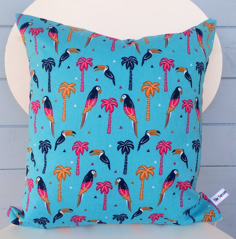 Tropical Parrot Pillow Blue Palm Tree Cushion Party Cushion image 0