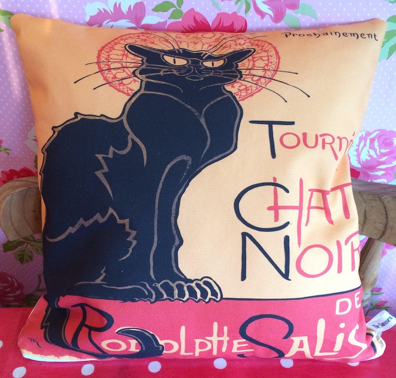 Le Chat Noir cushion  pillow  The Black Cat gift  image 0