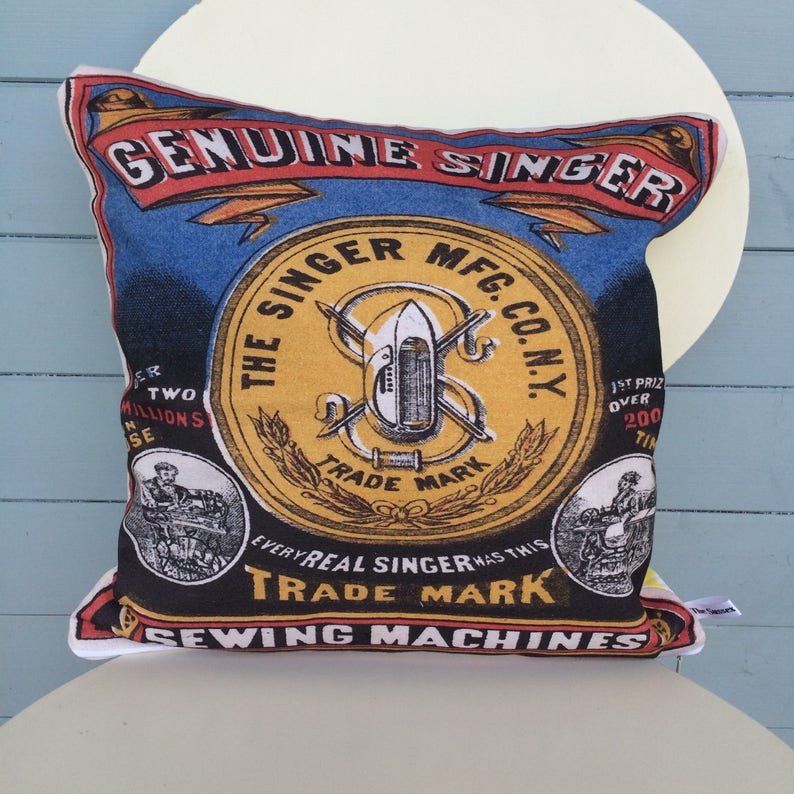 Singer Sewing Machine Cushion  pillow  sewing gift  Vintage image 0