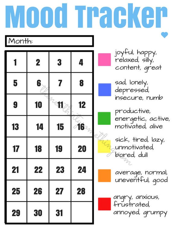 Playful image within free mood tracker printable