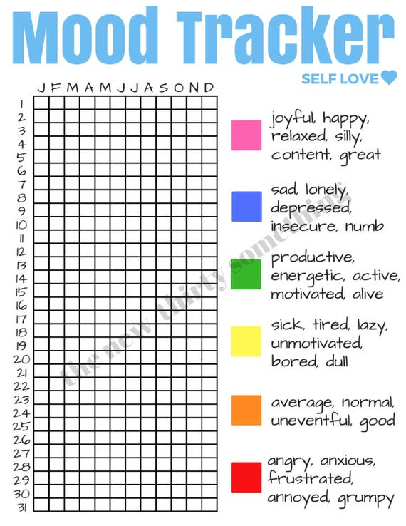 Légend image with regard to printable mood tracker