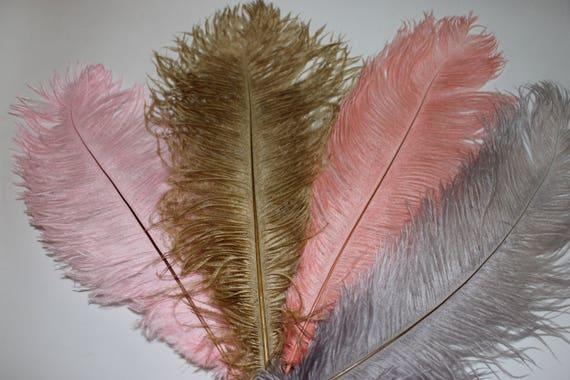 50 Fifty yellow ostrich blondene feather first A grade 350-400MM