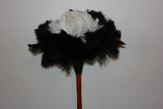 1 wood shaped handle black ostrich feather duster 35cm-14 inch first grade One