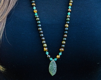 Long Sandalwood, Green Aventurine + Tiger's Eye Necklace with Feather Pendant