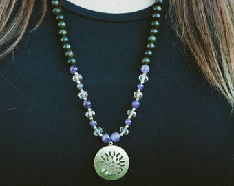 Essential Oil Diffuser Necklace with Amethyst, Glass + Sandalwood