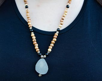 Pyrite and Onyx Necklace with Olive Wood + Glass