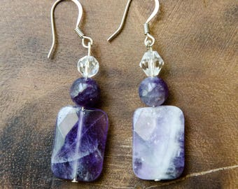 Faceted Amethyst + Glass Earrings