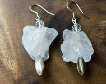 Raw Quartz Nugget and Shell Earrings