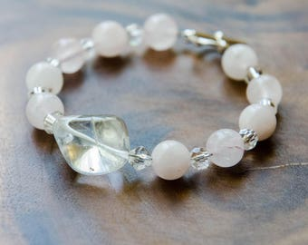 Unconditional Love Bracelet with Rose Quartz, Glass + Polished Quartz Nugget