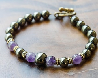 Hematite and Amethyst Grounding Bracelet