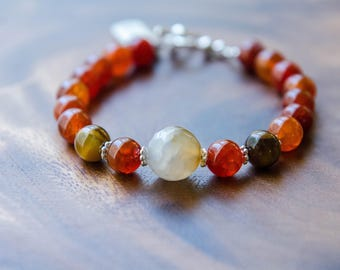 You Are Enough* Charm Bracelet with Fire Agate, Tigers Eye and Faceted Agate