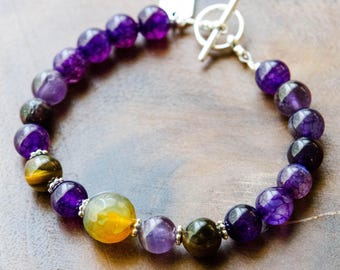 You Are Enough* Charm Bracelet with Amethyst, Tigers Eye and Agate
