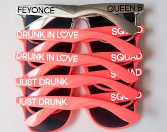 Drunk in Love Sunglasses, Just Drunk Sunglasses, Squad Sunglasses, Silver Sunglasses, Coral, Bachelorette Sunglasses, Wedding Sunglasses