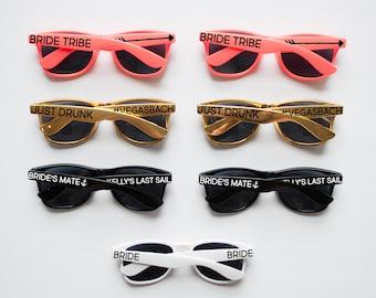 Coral, Gold, Personalized Sunglasses, Custom Sunglasses, Bachelorette Sunglasses, Wedding Sunglasses, Bachelorette Gift, Wayfarer Sunglasses