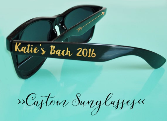 820cca9d3a Custom Glitter Text Wedding Bachelorette Party Sunglasses