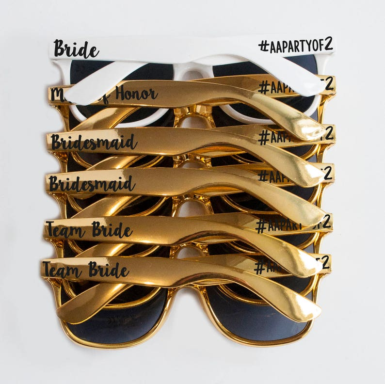 fc121b1f771 Custom Gold Hashtag Bachelorette Party Wedding Sunglasses