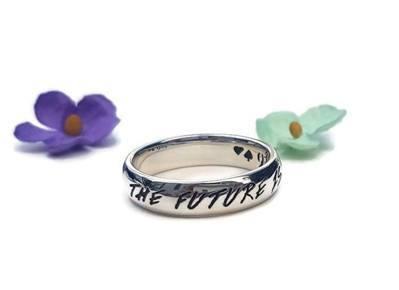 Gift for Daughter Graduation Gift For Her Sterling Silver Stack Ring Feminist Quote Ring Smash the Patriarchy Girl Power Best Bitches