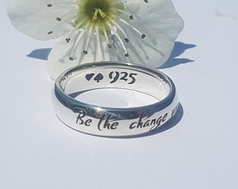 Ghandi Quote Ring, Be the Change You Wish to See in the World, Graduation Ring, Quote Ring, Personalized Ring, Silver Ring