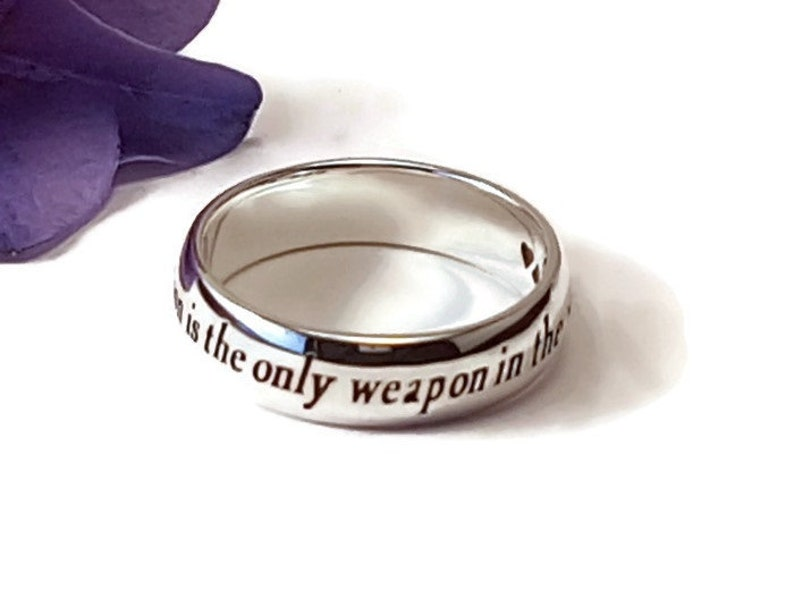 Alice in Wonderland Ring Lewis Carroll Quote Inspirational Jewelry Sterling Silver Handmade Christmas Gift for daughter