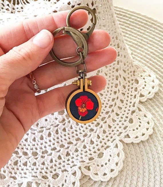 Remembrance Poppy KeychainKey Ring Liberty Art Fabric Red Poppy Bag Chain Red Poppies Rememberance Anzac Day