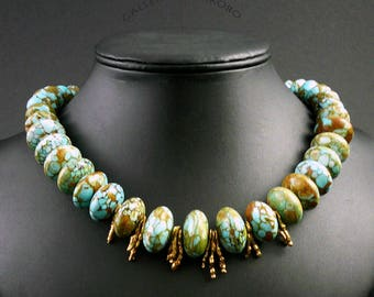 Mosaic turquoise combined with fine silver vermeil beads.