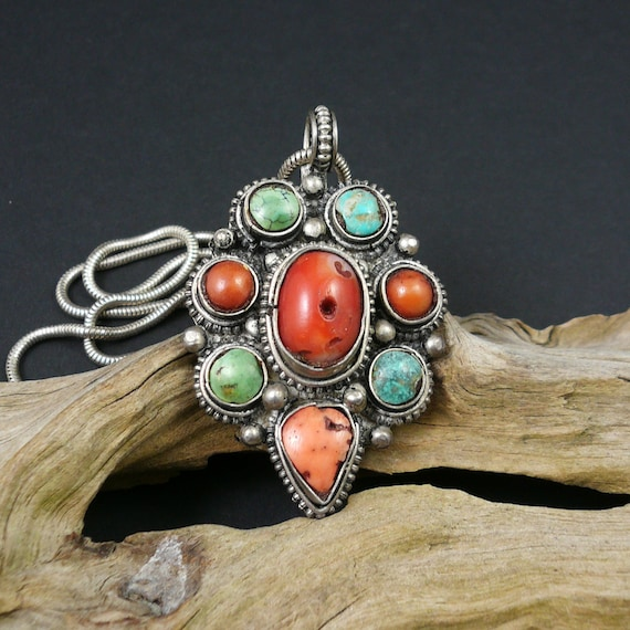 Himalayan Mosaic Ring Adjustable with Turquoise and Coral