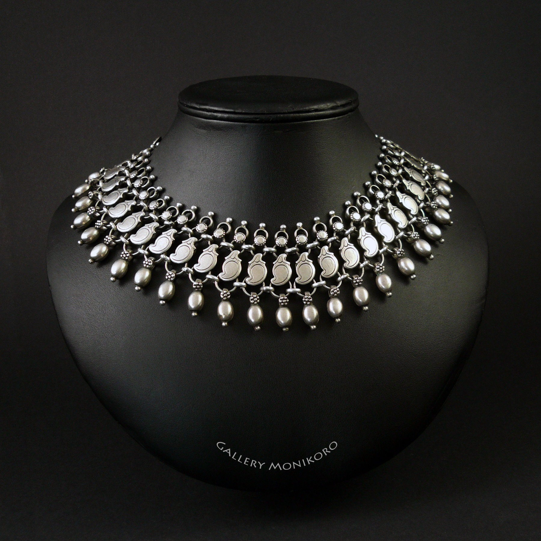 Vintage Indian Sterling Silver Mango Necklace