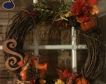 Fall wreath with custom initial