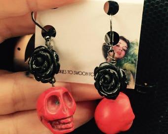 Day of the Dead rose & skull earrings