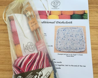 A WoollyKits Traditional Cotton Dishcloth Knitting Kit + FREE Stitch-Marker