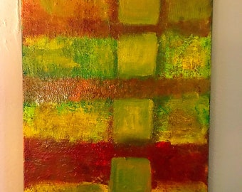 Original Abstract Untitled red Green Orange oil painting. Original Oil painting Abstract 16x20 inch