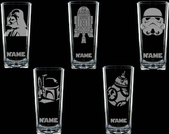 Star Wars etched engraved Personalised Glass fathers day birthday darth vader R2D2 BB8 boba fett stormtrooper handcrafted