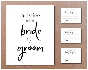 Printable Bride and Groom Advice Cards - 74mm x 52mm A8 size wedding guest advice card