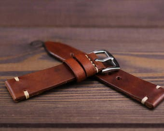 47843511d Leather watch strap vintage style 16mm, 17mm, 18mm, 19mm, 20mm, 21mm, 22mm,  24mm Color cognac. Stich strong waxed thread. Christmas gift